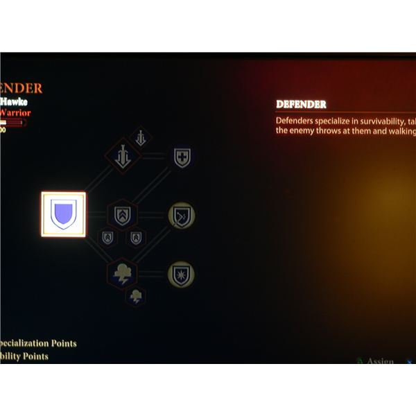 A look at the Defender skill tree for the Warrior in Dragon Age 2.