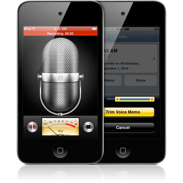 Audio Recording for iPod Touch 4: How to Use Voice Memos to Record and Share Audio and How to Attach Appropriate Microphones
