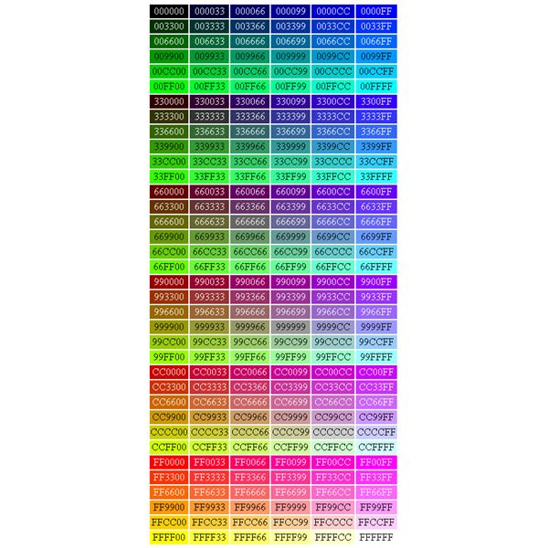 Html Color Chart Selol Ink