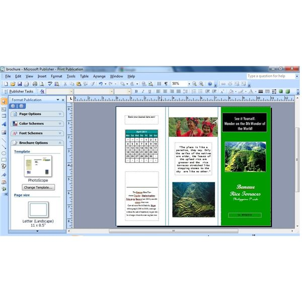 how to insert a calendar in microsoft publisher brochure