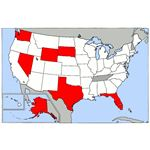 Map of USA highlighting states with no income tax on wages