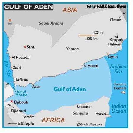 Gulf of Aden. Credit: wordatlas.com