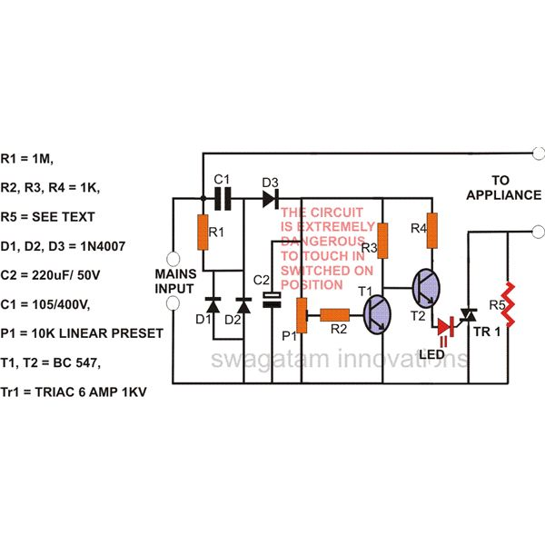 Simple Mains Voltage Surge Protector Circuit Diagram, Image
