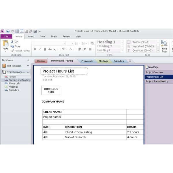 Using ms onenote project management for organization for Onenote section template