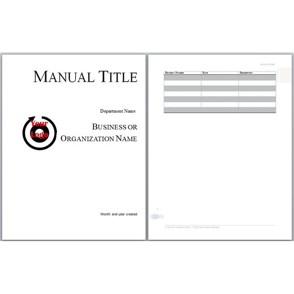 Microsoft word manual template basic and employment for Employee handbook cover design template