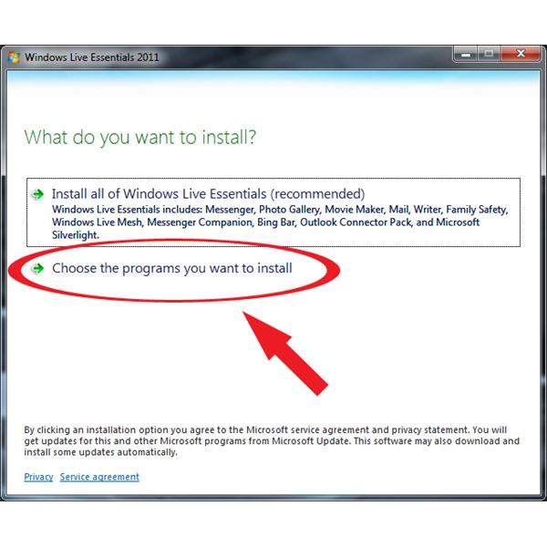 Windows Live Mail Install: Choose programs