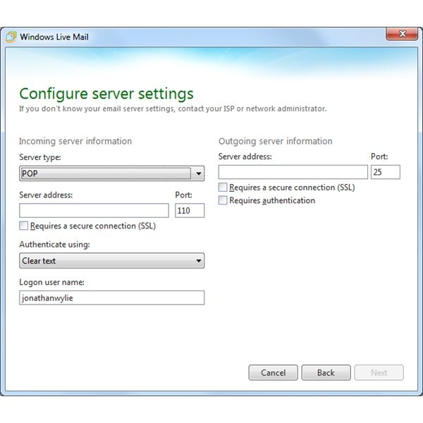 Windows Live Mail Install: Configure Settings