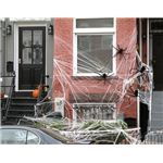 A house decorated for Halloween.