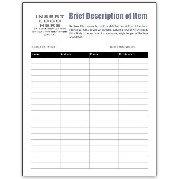 bid sheet template