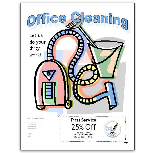 Publisher Office Cleaning Flyer With Coupon