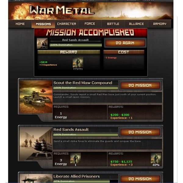 Facebook RPG Games: War Metal Review