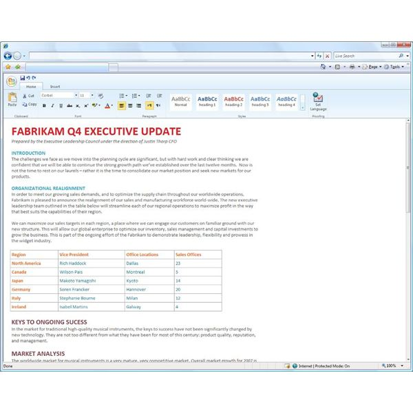 Editing a Word document in your browser with Office Web Apps