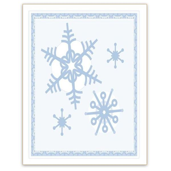 Winter Backgrounds for Word Documents: Bordered Snowflakes