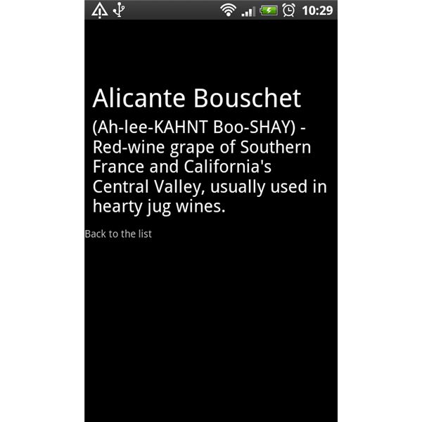 Wine Dictionary Definition Screen