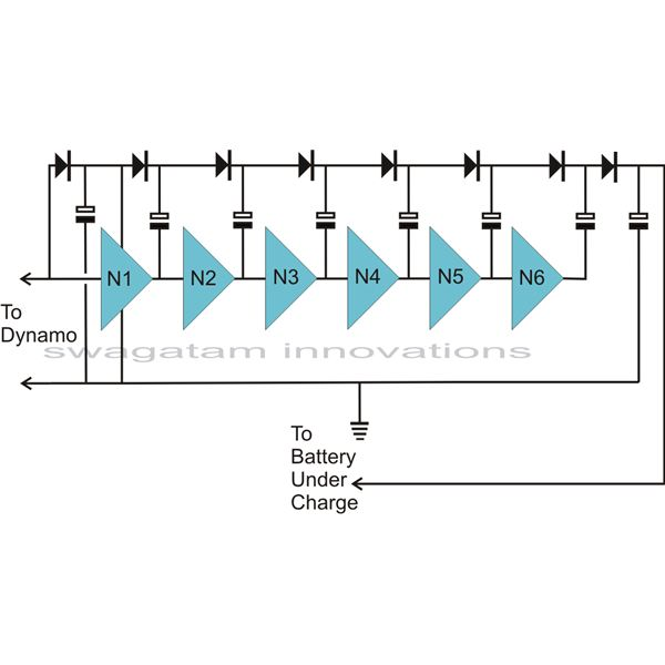 Charge Pump Circuit Diagram for Boosting Dynamo Volatge, Image